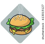 cheeseburger with cheese  salad ... | Shutterstock .eps vector #613015127