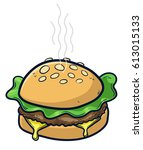 cheeseburger with cheese  salad ... | Shutterstock .eps vector #613015133