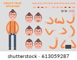 man constructor. separate part... | Shutterstock .eps vector #613059287