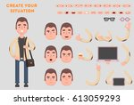 man constructor. separate part... | Shutterstock .eps vector #613059293