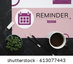 workspace with coffee and... | Shutterstock . vector #613077443