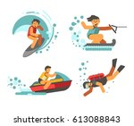 summer water healthy activities ... | Shutterstock .eps vector #613088843