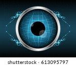 abstract eye globe light line... | Shutterstock .eps vector #613095797