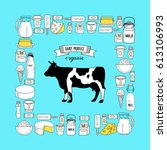 vector illustration. cow and... | Shutterstock .eps vector #613106993