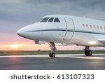 large private business jet on...   Shutterstock . vector #613107323