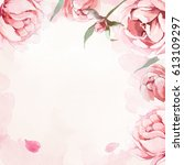 pattern of watercolor pink ... | Shutterstock . vector #613109297