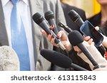 press interview. news... | Shutterstock . vector #613115843
