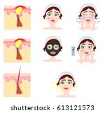 facial treatmets infographic.... | Shutterstock .eps vector #613121573