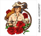 vector illustration of captain... | Shutterstock .eps vector #613124957
