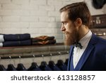 a young stylish man with a... | Shutterstock . vector #613128857
