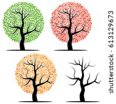 four trees with green  red ... | Shutterstock . vector #613129673