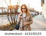 beautiful young hipster girl...   Shutterstock . vector #613130153