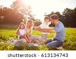 family with children on picnic... | Shutterstock . vector #613134743