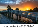 Sunset Wooden Bridge Over...