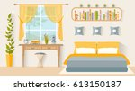 bedroom with a workplace next... | Shutterstock .eps vector #613150187