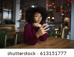 smiling afro american teenage... | Shutterstock . vector #613151777