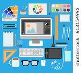 flat design style modern vector ...   Shutterstock .eps vector #613154993