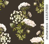 watercolor floral pattern  wild ... | Shutterstock . vector #613157003