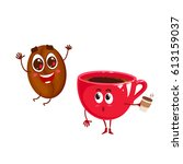 vector two happy characters.... | Shutterstock .eps vector #613159037
