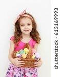 adorable little girl playing... | Shutterstock . vector #613169993