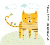cute tiger with birds and sky... | Shutterstock .eps vector #613179467