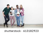 group of youth adult... | Shutterstock . vector #613182923