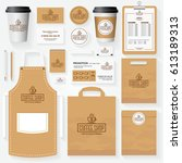 coffee shop corporate identity... | Shutterstock .eps vector #613189313