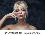 beauty model woman with... | Shutterstock . vector #613189787