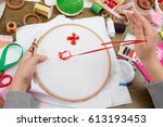 boy embroidered on the hoop ... | Shutterstock . vector #613193453