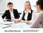 business people working with... | Shutterstock . vector #613195247