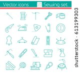 sewing set  line vector icons ... | Shutterstock .eps vector #613199303