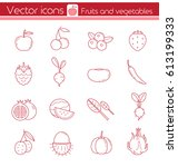 red fruits and vegetables  line ... | Shutterstock .eps vector #613199333