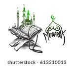 the holy book of the koran on... | Shutterstock .eps vector #613210013