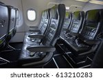empty cabin civil airplan with... | Shutterstock . vector #613210283