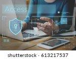 hands working on laptop network ...   Shutterstock . vector #613217537