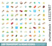 100 transport and road icons... | Shutterstock . vector #613227857
