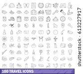 100 travel icons set in outline ...   Shutterstock . vector #613227917