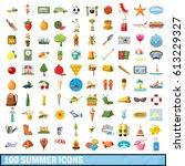 100 summer icons set in cartoon