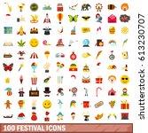 100 festival icons set in flat... | Shutterstock . vector #613230707