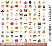 100 carnival icons set in flat... | Shutterstock . vector #613231667
