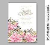 peony wedding invitation... | Shutterstock .eps vector #613232063