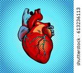 human heart pop art retro... | Shutterstock . vector #613236113