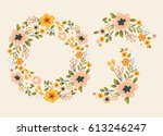 beautiful vector flowers wreath ... | Shutterstock .eps vector #613246247