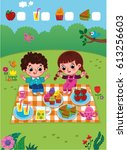 picnic fun. vector illustration.... | Shutterstock .eps vector #613256603