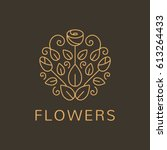 floral logo.  flower icon.... | Shutterstock .eps vector #613264433