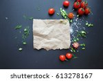 a piece of paper with a recipe... | Shutterstock . vector #613278167