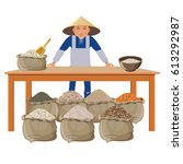 farmer selling different kinds... | Shutterstock .eps vector #613292987