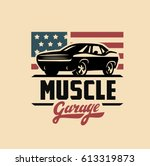 emblem muscle car silhouette... | Shutterstock .eps vector #613319873