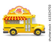 cute vintage yellow food truck... | Shutterstock .eps vector #613324703