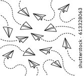 paper planes background | Shutterstock .eps vector #613328063